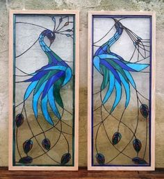 "Custom Made Stained Glass Panels - ""Iridescent Peacock"" - by Donna Terraza"