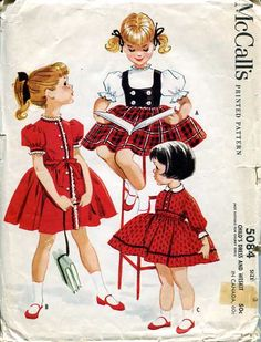 toddlers party dress and westkit McCalls 5084 uncut vintage sewing pattern Size 1 Chest 20 Retro Rockabilly Mid Century era by on Etsy