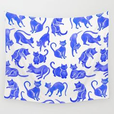 Cat Positions - Blue Palette Wall Hanging Tapestry by Cat Coquillette - Small: x Tapestry Wallpaper, Dorm Tapestry, Blue Tapestry, Tapestry Bedroom, Tapestry Wall Hanging, Tapestries, Palette Wall, Blue Palette, Cat Position