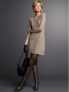 Petite Apparel: Petite 3/4-sleeve cableknit sweater dress: sweater dresses sweaters | Banana Republic from bananarepublic.com