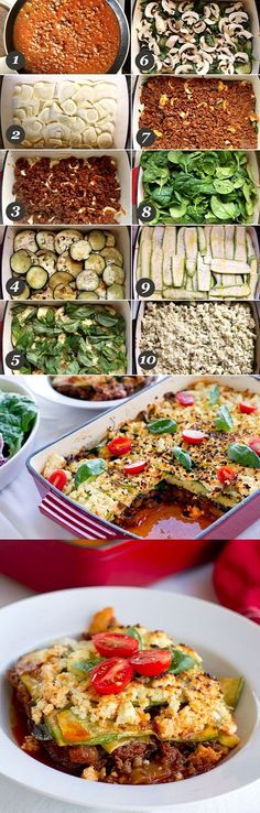 No Pasta Lasagna | Precook ground beef with onions and garlic. Salt zucchini and eggplant and set aside for 10 mins. Blot excess water. Fry eggplant slices in olive oil 1-2 mins each side. Bake at 375° for 20 mins. Mix cheese and egg. Layer veggies, chees