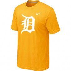 Wholesale Men Detroit Tigers Heathered Blended Short Sleeve Yellow T-Shirt_Detroit Tigers T-Shirt