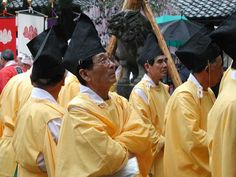 Shinto priests at a local festival...