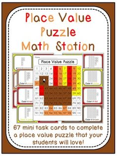 Thanksgiving Place Value 100 Chart Puzzle Math Station {Turkey}