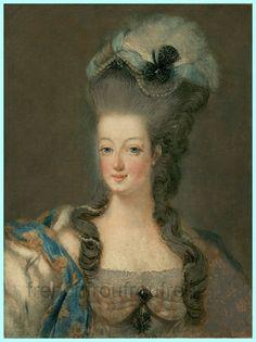 antique french illustration portrait of Marie Antoinette queen of France DIGITAL DOWNLOAD