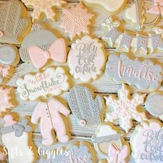 """430 Likes, 30 Comments - SIFTS AND GIGGLES (@sifts_and_giggles) on Instagram: """"Baby it's cold outside...finally! Love this custom cookie set for Julie's baby shower ❄️…"""""""