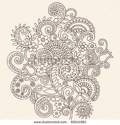 Hand-Drawn Henna Mehndi Paisley Doodle Flowers and Vines Vector Illustration Design Element