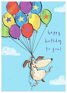 KimScott Birthday Dog Flying , Representing leading artists who produce children's and decorative work to commission or license.