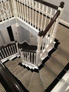 Brintons Carpets Stripes Collection Humbug & True Velvet Jet Stair Runner And Matching Landing Carpet