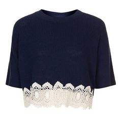 Topshop Crocheted Hem Crop Sweater (Regular & Petite) Nude 12 (14 US) (1,230 MXN) ❤ liked on Polyvore featuring tops, sweaters, crop tops, shirts, blouses, boxy sweater, blue cropped sweater, crochet crop top, crop shirt and petite tops
