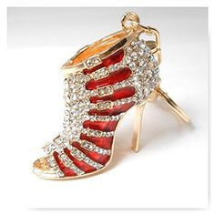 Rhinestone Shoe Keychain Red Heel Bling Key Chain Women Heel Purse Charm Bling Crystal Key Ring Bag Charm Jewelry Ladies Fashion Open Toe Heel Keyring By Bling Car Decor >>> Want additional info? Click on the image.