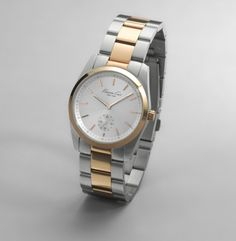 Stainless Steel Link Watch with Rose Gold Details. Kenneth Cole New York.