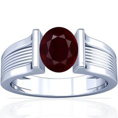 Platinum Oval Cut Ruby Womens Astrological Ring