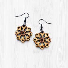 Small Mandala Earrings - Wooden Earrings Minimal Earrings Small Earrings Laser Cut Jewelry Bohemian Earrings Small Wood Earrings