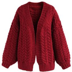 Chicwish Nice to Knit You Chunky Cardigan in Red ($55) ❤ liked on Polyvore featuring tops, cardigans, red, chicwish tops, cardigan top, red cardigan, chunky-knit cardigans and knit cardigan