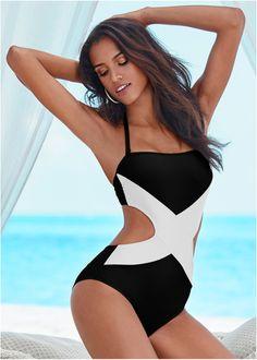 Maiô preto/branco encomendar agora na loja on-line bonprix.com.br R$ 129,90 a partir de Maiô tomara que caia, também com opção de alcinhas para usar frente ...
