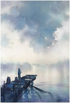 "A great clear example of the horizon line. (""Above Us Only Sky"" Thomas W Schaller - Watercolor 24x18 Inches 29 May 2015 #watercolor jd)"