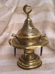 Islamic Mamluk Brass Copper Silver Inlaid Incense Burner
