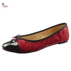 Sopily - Chaussure Mode Ballerine Cheville femmes dentelle - strass diamant verni Talon bloc 0.5 CM - Rouge - CAT-5-SH204 T 37 - Chaussures sopily (*Partner-Link)