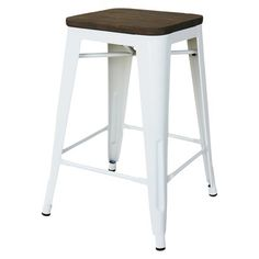 Hampden Counter Stool White Metal @Tricia Gibb 50$ each.  i like the wood with the metal... but ya no back :(