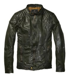 Leather Biker Jacket with Shoulder Panels, Scotch and Soda