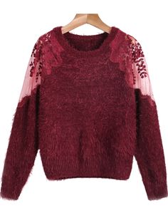 Shop Red Contrast Hollow Lace Long Sleeve Mohair Sweater online. Sheinside offers Red Contrast Hollow Lace Long Sleeve Mohair Sweater & more to fit your fashionable needs. Free Shipping Worldwide!