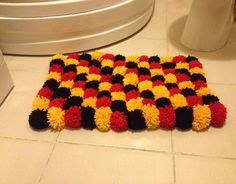 Red black yellow Pom Poms Bath Mat, Bathroom Rug, doormat, pet mat