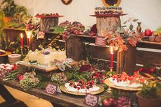 Dessert table from an Autumn Feast Inspired Wedding | Photography by http://www.nickrosephotography.com/