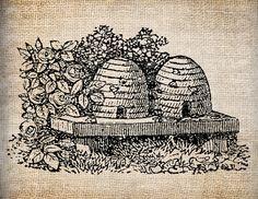 Antique Bee Skep Bee Hive Digital Download for Tea Towels, Papercrafts, Transfer, Pillows, etc Burlap No. 5997