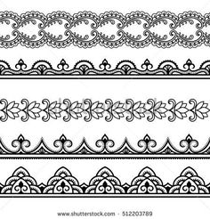 Set of seamless borders for design, application of henna, Mehndi and tattoo. Decorative pattern in ethnic oriental style. Set of seamless borders for design, application of henna, Mehndi and tattoo. Decorative pattern in ethnic oriental style. Estilo Mehndi, Arte Mehndi, Henna Mehndi, Mandala Pattern, Mandala Design, Pattern Art, Mandala Drawing, Mandala Tattoo, Rangoli Designs