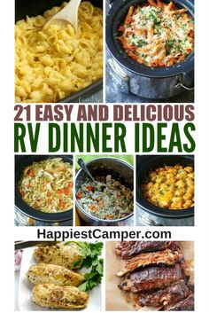 Easy RV Dinners - 21 Easy and Delicious RV Dinners - Make in a Crock Pot or Instant Pot from your RV Easy and delicious RV dinner ideas for your next camping trip. These one pot meals offer easy clean-up, won't heat up the RV, and please the whole family! Tater Tots, Bento, One Pot Meals, Easy Meals, Healthy Meals, Healthy Food, Meals For Camping Easy, Easy Camp Dinners, Food To Take Camping