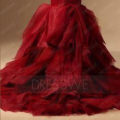 Dresswe.com SUPPLIES Excellent Mermaid Strapless Casscading Ruffles Chapel Train Color Wedding Dress Trumpet/Mermaid Wedding Dresses (4)