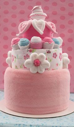 Baby Girl diaper cake. A cute baby shower gift.