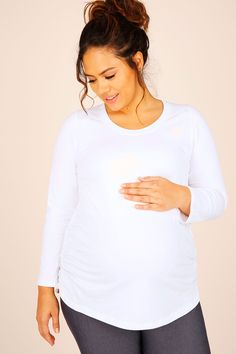 BUMP IT UP MATERNITY White Cotton Long Sleeved Top