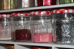 glitter storage in Bonne Maman jars @ the corner farmhouse