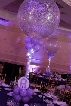Lavender Sparkle Balloons with Lights Lavender & Purple Themed Bat Mitzvah with Sparkle Balloon Centerpieces & Custom Logo Base Bat Mitzvah Centerpieces, Balloon Centerpieces, Balloon Decorations, Wedding Centerpieces, Wedding Table, Wedding Ideas, Trendy Wedding, Masquerade Centerpieces, Table Decorations