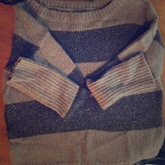 LOFT fashion sweater Excellent condition, size M. Light brown and gray sparkle sweater, perfect for a holiday/New Years party  LOFT Sweaters