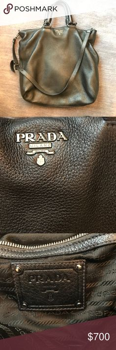 Prada metallic grey bag Authentic Prada metallic get bag with short handle and removable long handle Prada Bags Hobos