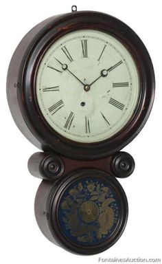 "Ingraham ""Ionic"" Hanging Wall Clock - LOT 149 Estimate: $300 - $500 - Antiques…"