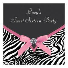 Pink Zebra Sweet 16 Birthday Party Custom Announcements