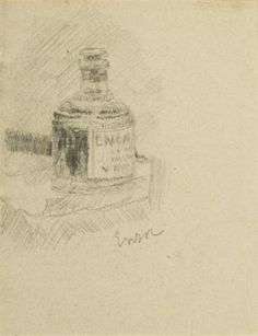 James Ensor - Ink Bottle; Medium: Pencil graphite drawing on paper