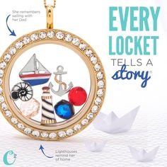 #Sailing #Nautical themed #Locket from #OrigamiOwl makes a great #gift for her. #Anchor #SailBoat #LightHouse