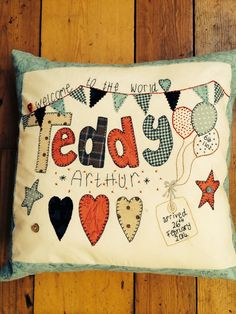 An appliqué cushion for a new baby gift. Took about three hours start to finish. By Shula Clark ♥ Applique Cushions, Bean Bags, Sewing Rooms, Pincushions, New Baby Gifts, Embroidery Applique, Love Art, Country Style, New Baby Products