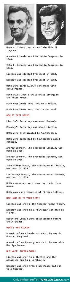Something for President's Day --Mind blowing coincidences on Lincoln's and Kennedy's murder