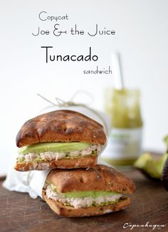 Copycat Joe & The Juice Tunacado sandwich - creamy tuna salad, fresh avocado and pesto make a quick and delicious lunch!