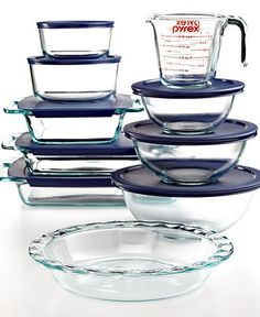 Pyrex Food Storage Containers, 18 Piece Bake and Prep Set - Bakeware - Kitchen - Macy's