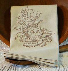 Turkey and Pumpkins Cotton Kitchen Dish Towel