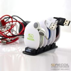 Never Fight Tangled Cords Again!!Recoil Automatic Cord Winders instantly and automatically wind and organize cords, cables and headphones — eliminating the universal frustration of tangled cords that everyone deals with. Spring-loaded and totally automatic, this unique cord management product keeps your cords and headphones tangle free, perfectly protected and ready for use.If you have every been frustrated by piles of tangled cords cluttering your desk, luggage, purse or backpack then you…