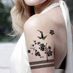 Lace Flowers and Sparrow Tattoo