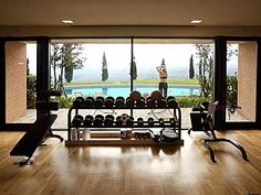 Home gym, sign me up- this is exactly what I was thinking of only smaller and with French doors